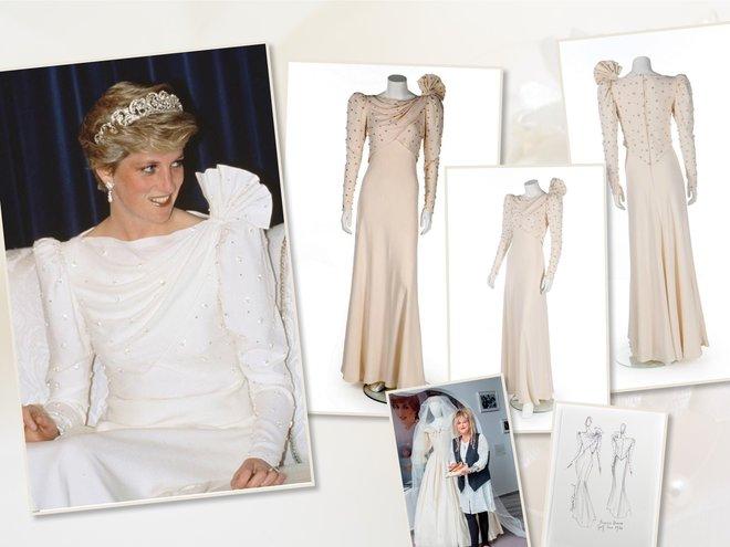 Шелковое платье цвета слоновой кости принцессы Дианы от Элизабет Эмануэль