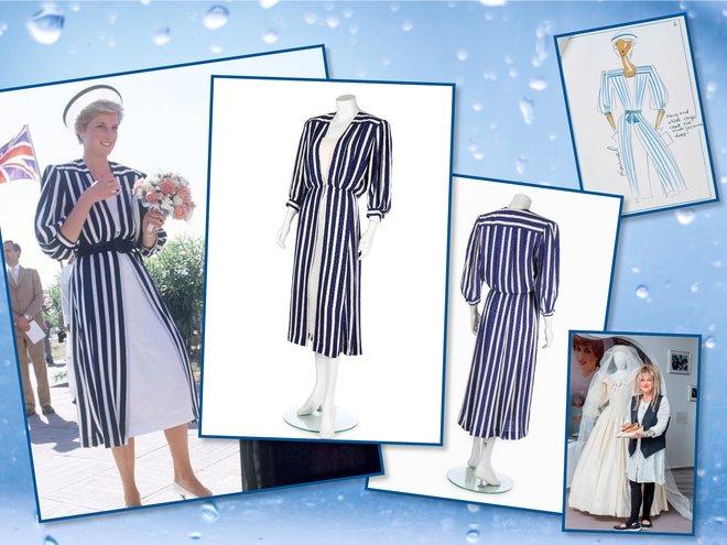 Платье принцессы Дианы в бело-синюю полоску от Элизабет Эмануэль